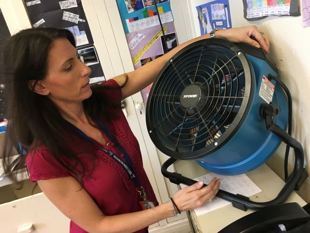 Long Beach middle school teacher Johnna Lipuma says temperatures in her non-air conditioned room passed 90 degrees during a Sept. 2016 heat wave.