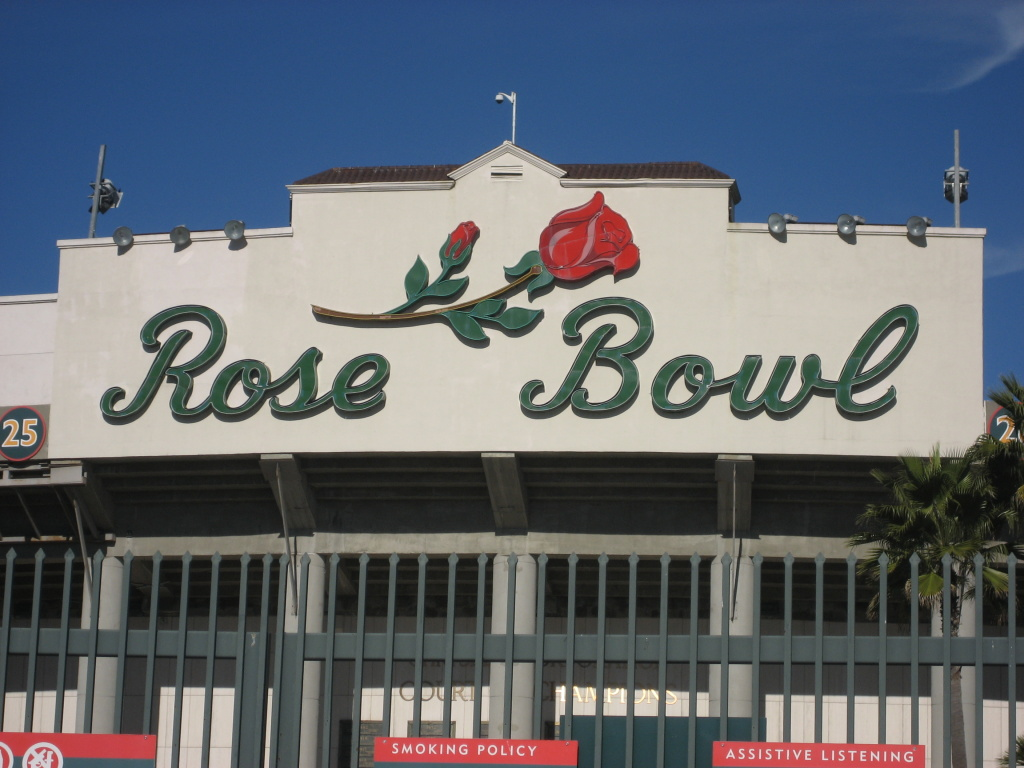 The 88-year-old Rose Bowl stadium.