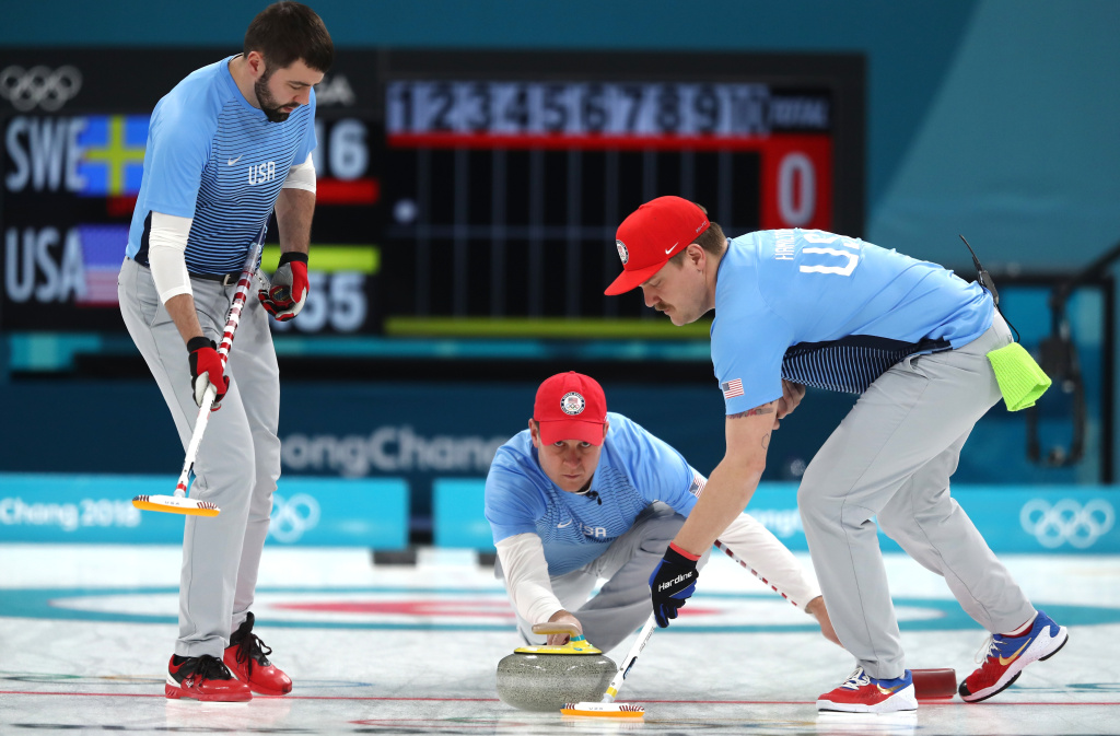 GANGNEUNG, SOUTH KOREA - FEBRUARY 24:  John Shuster of the United States delivers a stone against Sweden during the Curling Men's Gold Medal game on day fifteen of the PyeongChang 2018 Winter Olympic Games at Gangneung Curling Centre on February 24, 2018 in Gangneung, South Korea.  (Photo by Richard Heathcote/Getty Images)