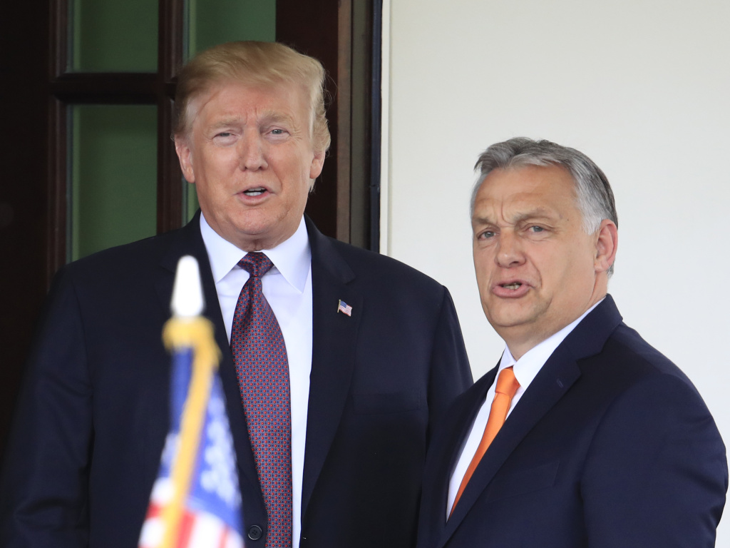 President Donald Trump welcomes Hungarian Prime Minister Viktor Orbán to the White House in Washington on Monday.