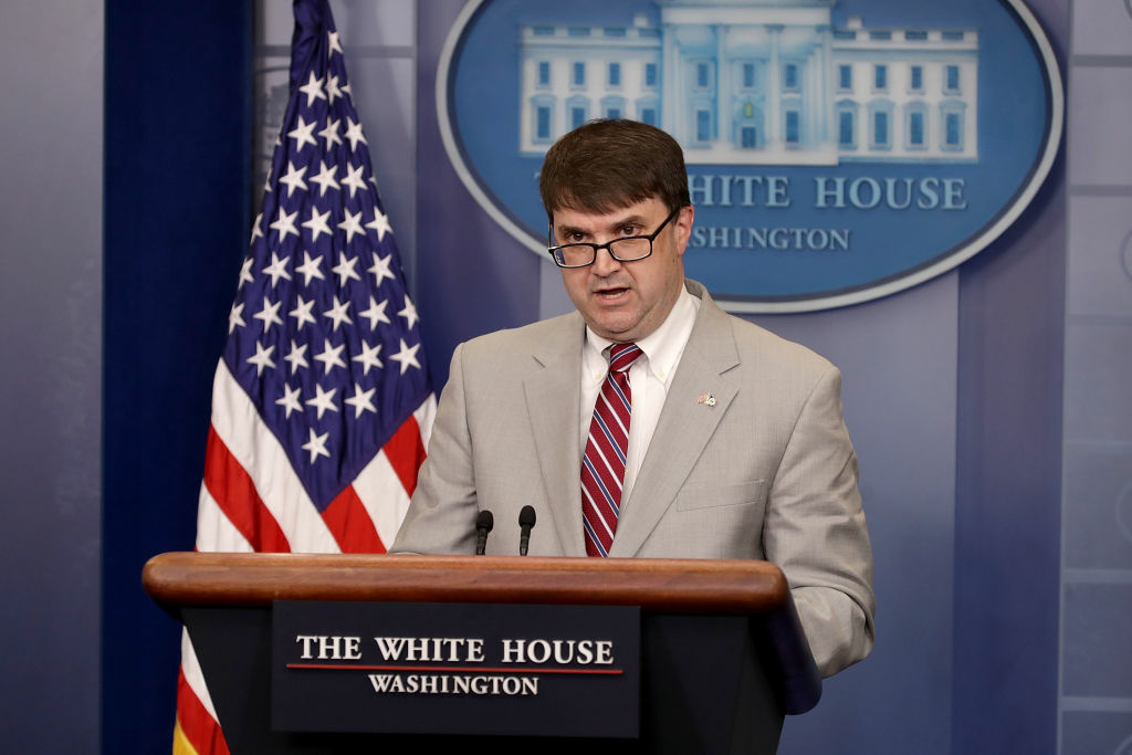 WASHINGTON, DC - MAY 17:  Acting Department of Veterans Affairs Secretary Robert Wilkie delivers a brief statement during the daily news conference in the Brady Press Briefing Room at the White House May 17, 2018 in Washington, DC. (Photo by Chip Somodevilla/Getty Images)