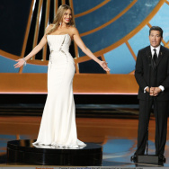 Sofia Vergara, left, and Television Academy CEO Bruce Rosenblum speak on stage at the 66th Annual Primetime Emmy Awards at the Nokia Theatre L.A. Live.