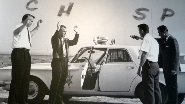 LAPD officers reenact the 1963 Onion Field shooting on location, just days after the incident.