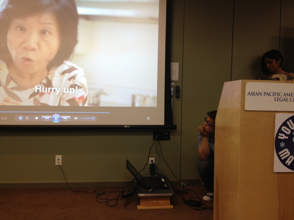 APALC screens the Fung brothers video it commissioned to get different generations of Asians and Asian Americans in the LA area to vote on November 6th.