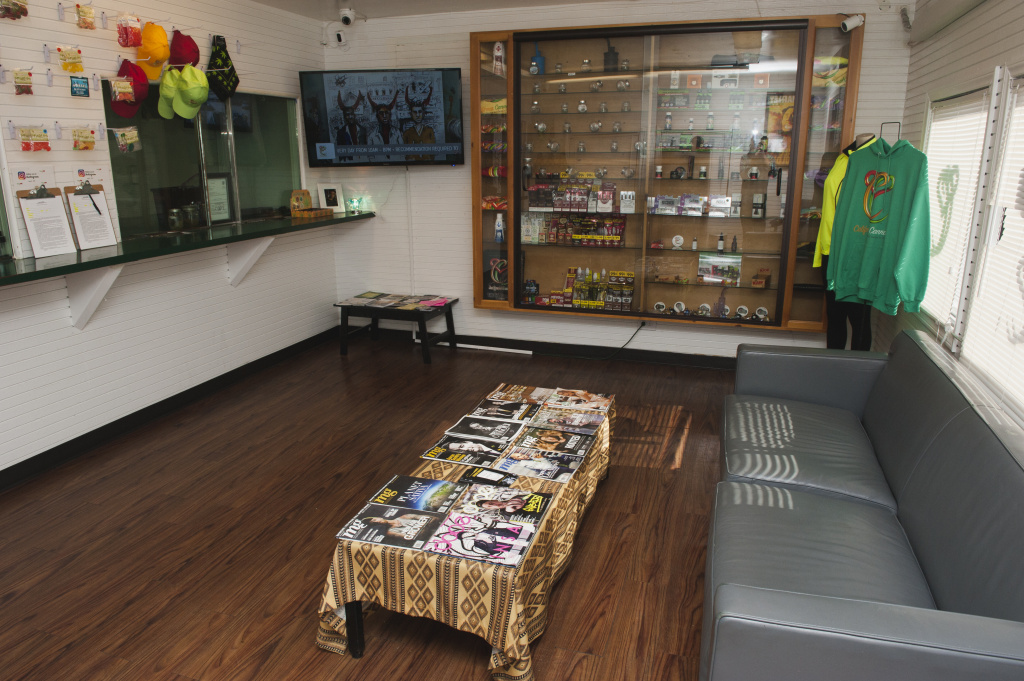 Marijuana samples and paraphernalia line the walls at Med X, a dispensary in Westmont that Virgil Grant owns on Friday, Dec. 1, 2017.