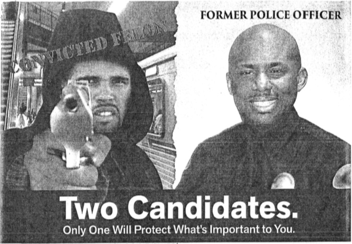 An image provided by Prophet Walker's attorneys shows part of a campaign mailer sent out by then-California Assembly candidate Mike Gipson that superimposed Walker's face over a hooded figure holding a handgun and pointing it at the viewer.