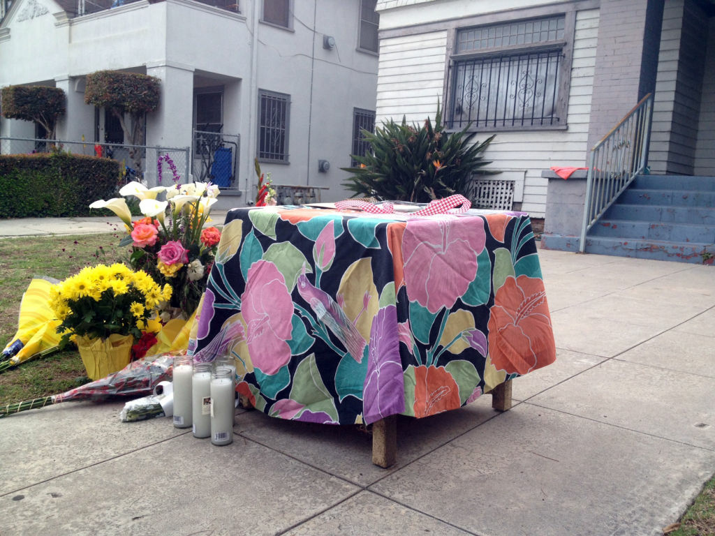 A small memorial set up at the house of two USC graduate students from China who were shot and killed, April 11, 2012.