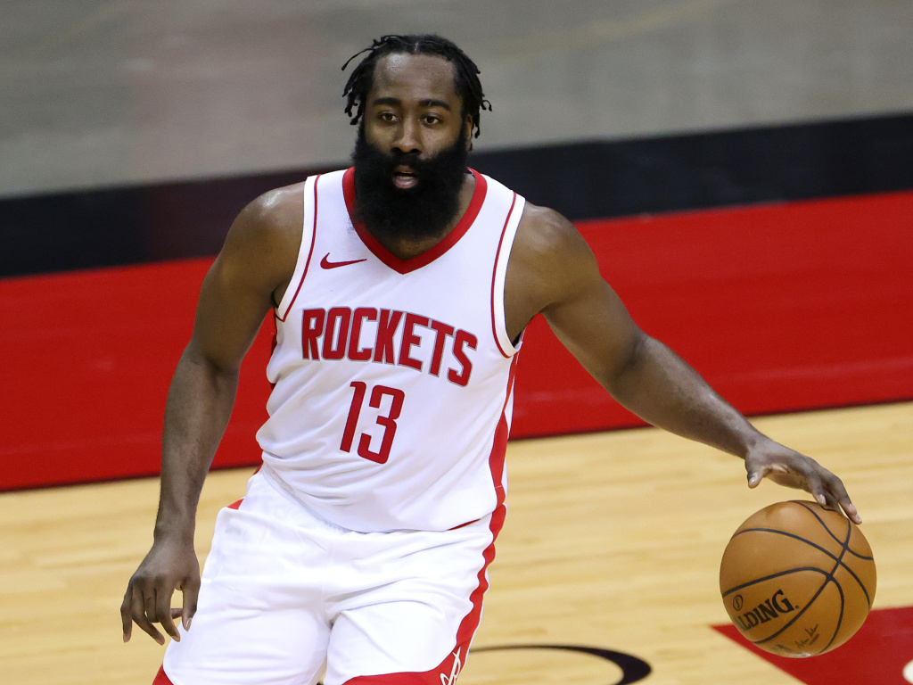 James Harden of the Houston Rockets was fined $50,000 for violating the NBA's health and safety protocols. He's seen on the court during a preseason game against the San Antonio Spurs on Dec. 17.