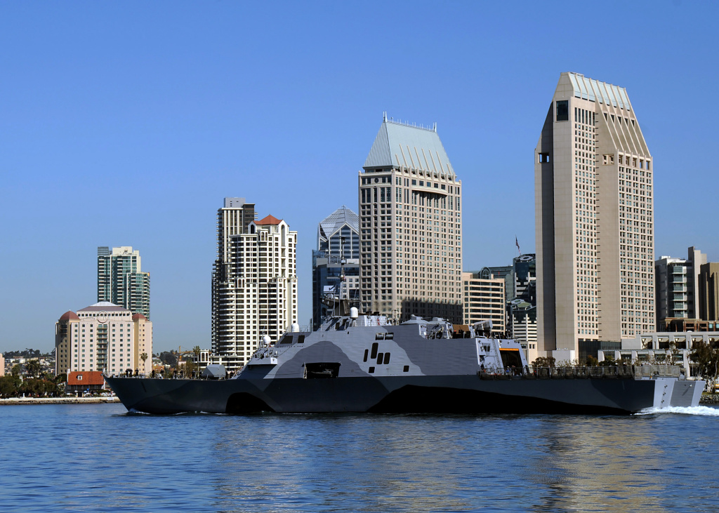 The USS Freedom departs San Diego Bay on March 1, 2013 for deployment to the Asia-Pacific region.