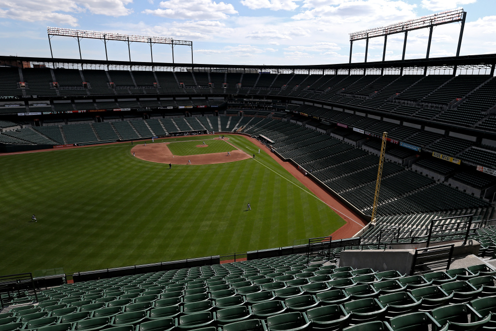 BALTIMORE, MD - APRIL 29: The Baltimore Orioles play the Chicago White Sox at an empty Oriole Park at Camden Yards on April 29, 2015 in Baltimore, Maryland. Due to unrest in relation to the arrest and death of Freddie Gray, the two teams played in a stadium closed to the public. Gray, 25, was arrested for possessing a switch blade knife April 12 outside the Gilmor Houses housing project on Baltimore's west side. According to his attorney, Gray died a week later in the hospital from a severe spinal cord injury he received while in police custody. (Photo by Patrick Smith/Getty Images)