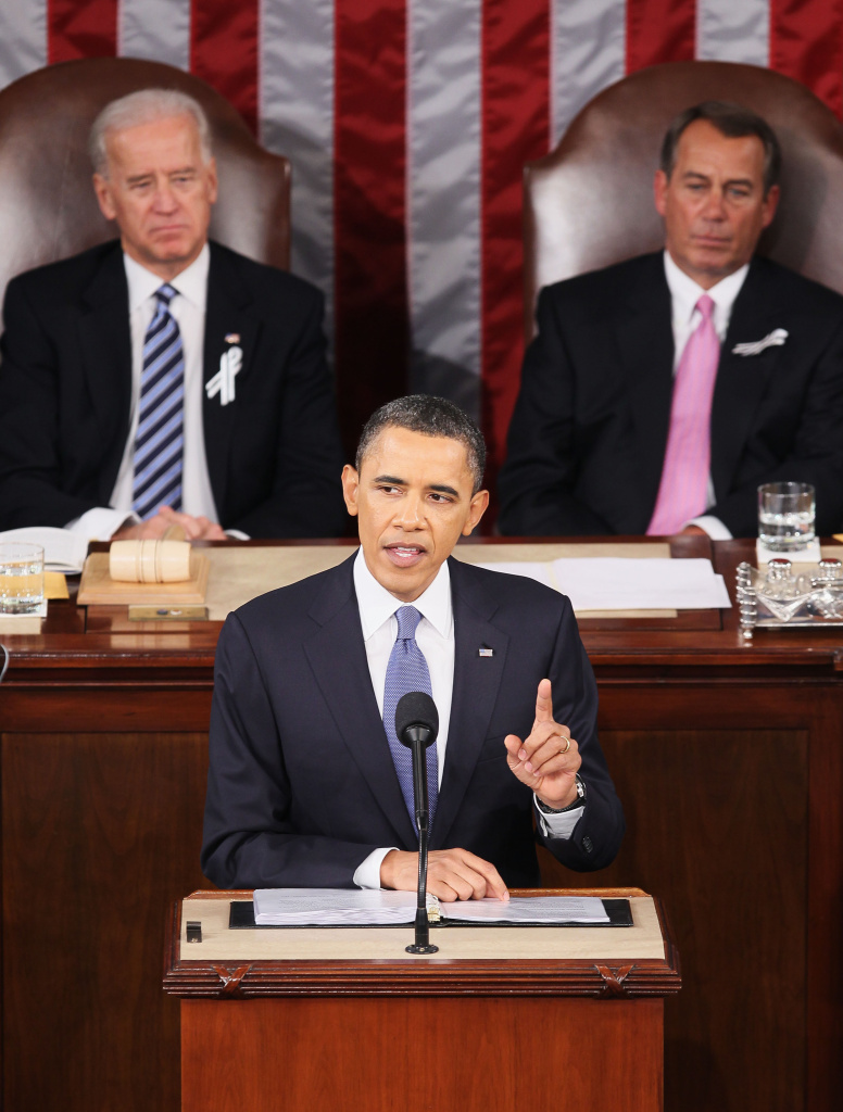 US President Barack Obama, flanked by Vice President Joe Biden (L) and Speaker of the House John Boehner (R-OH), addresses a Joint Session of Congress during last year's State of the Union speech.