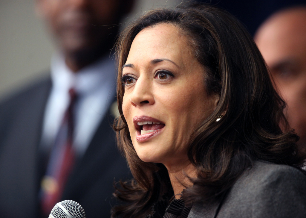FILE - In this Nov. 16, 2012 file photo, California Attorney General Kamala Harris speaks during a news conference in Los Angeles.