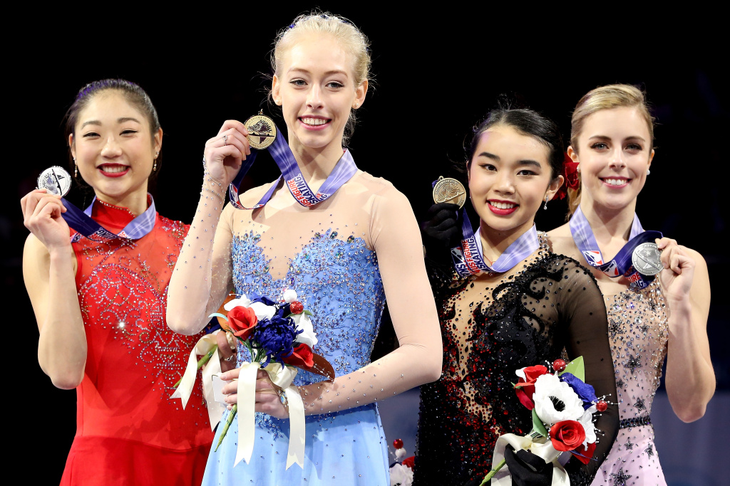 Mirai Nagasu, Bradie Tennell, Karen Chen and Ashley Wagner pose on the medals podium after the Championship Ladies during the 2018 Prudential U.S. Figure Skating Championships at the SAP Center on January 5, 2018 in San Jose, California.