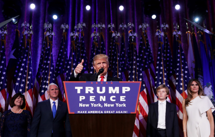 Republican president-elect Donald Trump delivers his acceptance speech during his election night event at the New York Hilton Midtown in the early morning hours of Nov. 9, 2016 in New York City. Donald Trump defeated Democratic presidential nominee Hillary Clinton to become the 45th president of the United States.
