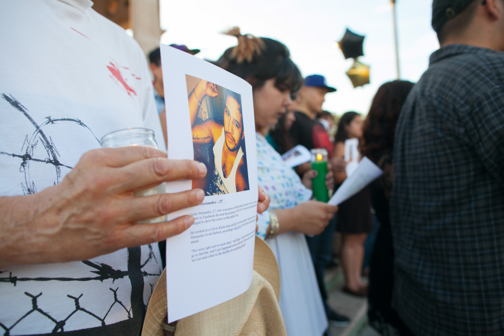 A  vigil in memory of the victims of the Orlando shooting, held at Mariachi Plaza in Boyle Heights, Los Angeles. on Friday, June 17, 2016.