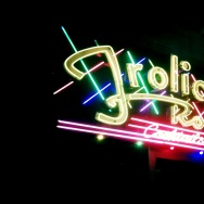 The neon sign outside the Frolic Room in Hollywood, California.