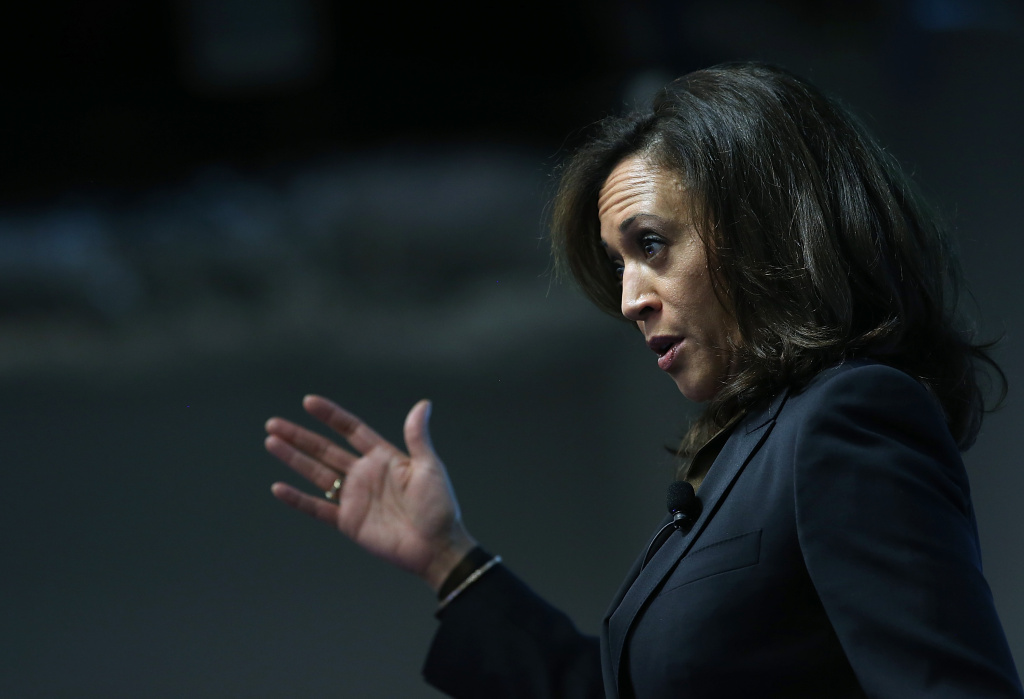 California Attorney General Kamala Harris delivers a keynote address during a Safer Internet Day event at Facebook on February 10, 2015 in Menlo Park, California.