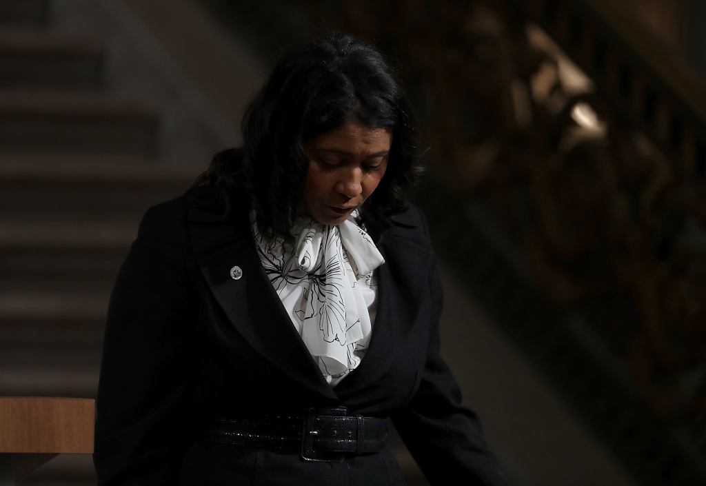 Acting San Francisco mayor London Breed walks off stage after speaking during a Celebration of Life Service held for the late San Francisco Mayor Ed Lee on December 17, 2017 in San Francisco, California.