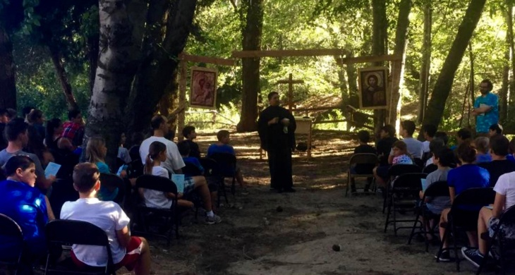 Father Gary Kyriacou leads evening vespers at Saint Sophia Camp in July 2015. Campers also attend a morning service and one hour-long Orthodox Life session each day.