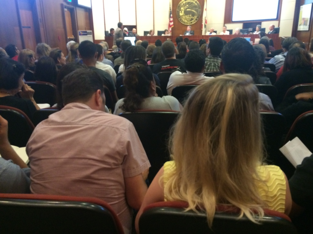 Santa Monica City Hall hosted an overflow audience who came to debate a proposed ordinance regulating short-term and vacation rentals.