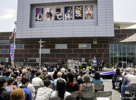 The crowd during the Los Angeles County High School for the Arts' grand opening of the new facility in May 2013.