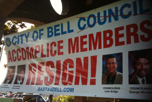 A large banner displayed at a meeting July 26, 2010 clearly expresses residents' frustration with Bell City Council members.