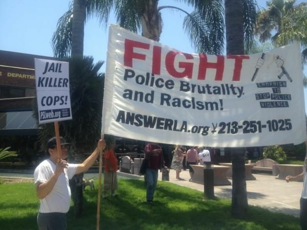 Over 50 people gathered at the Anaheim Police Department to protest an officer-involved shooting which occurred Saturday night.