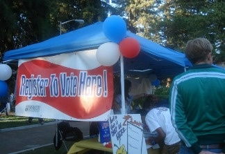 Voter registration booth at an unidentified California university campus. File photo.