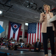 Democratic presidential candidate Hillary Clinton speaks to supporters at a rally at John Marshall High School on August 17, 2016 in Cleveland, Ohio.