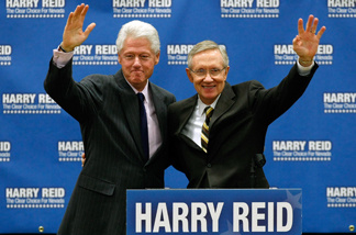 Former President Bill Clinton joins Senate Majority Leader Harry Reid (D-NV) at a pre-early vote campaign rally in Las Vegas, Nevada. Reid will face Republican Sharron Angle in the general election in November.