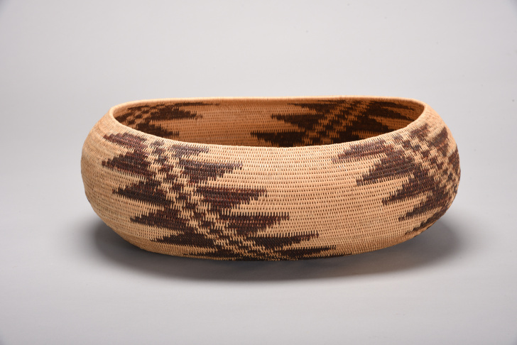 Pomo miniature basket, early to mid-1900s. Native Californian Mabel McKay, who's the focus of one of the exhibits, made baskets like these to use in traditional healing techniques as a Long Valley Cache Creek Pomo healer.