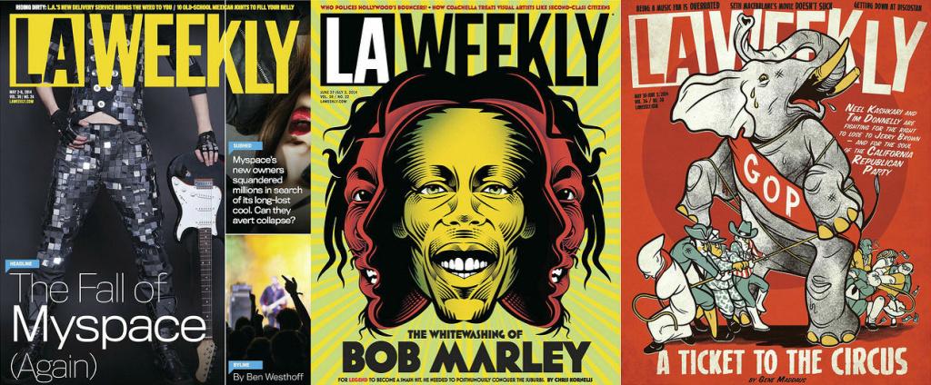 A composite image of several LA Weekly covers