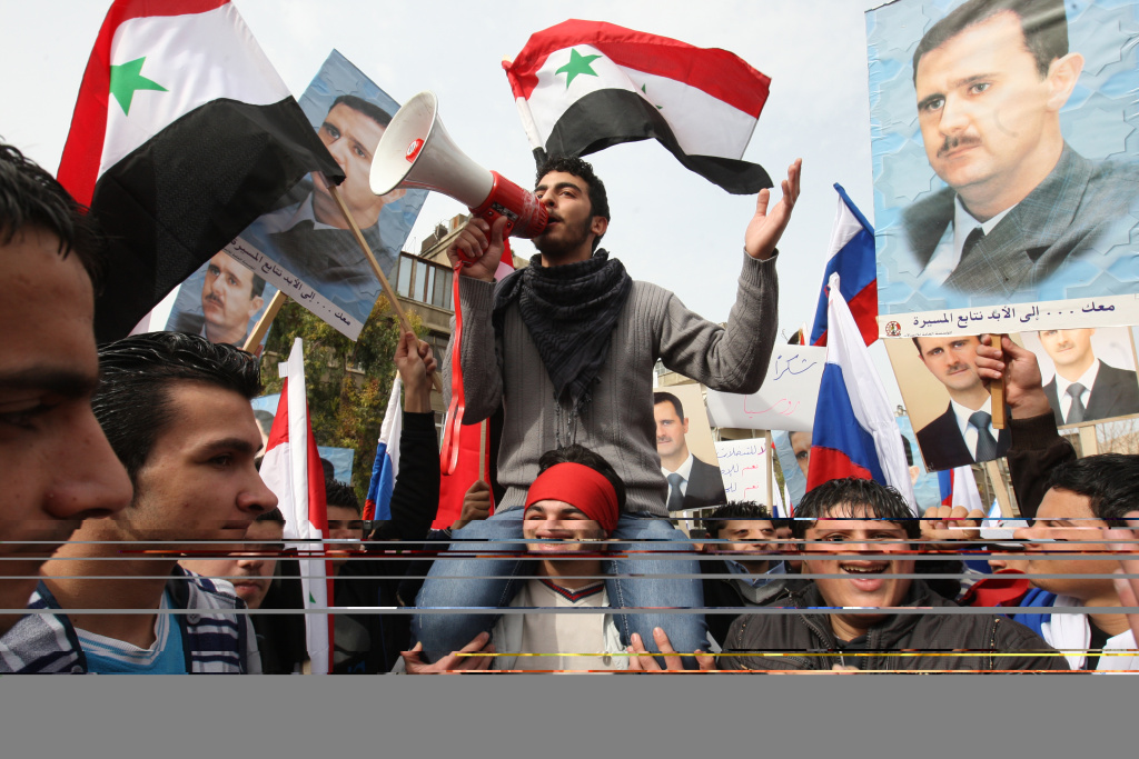 Syrians rally in front of the Russian Embassy in Damascus.