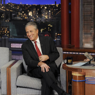 """Jon Stewart talks with Dave about his new film """"Rosewater"""" on the Late Show with David Letterman, Thursday Nov. 13, 2014."""