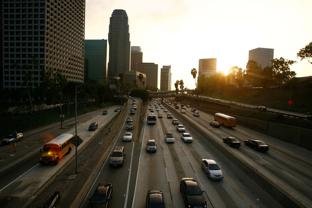 Drivers fill the 110 freeway during afternoon rush-hour on January 9, 2008 in Los Angeles, California.