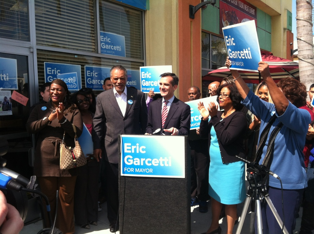 The Eric Garcetti mayoral campaign picked up support from Councilman Bernard Parks Friday.