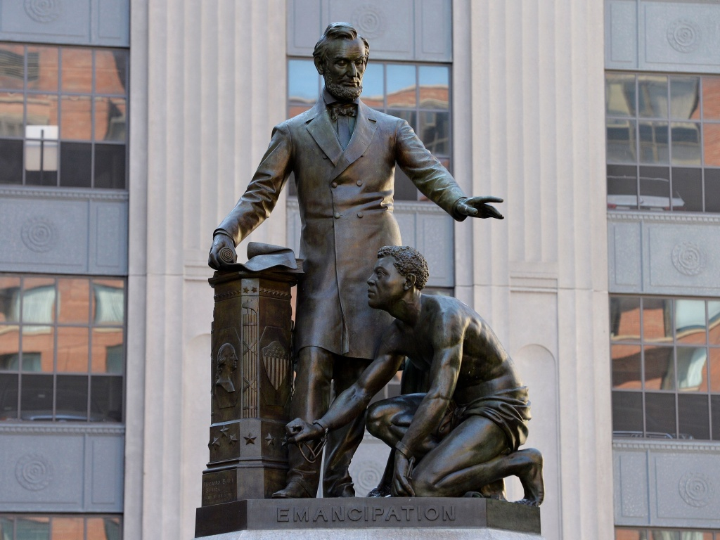A statue of Abraham Lincoln and a freed slave has been taken down in Park Square in Boston, Mass., after an intense debate and a petition to remove the work.
