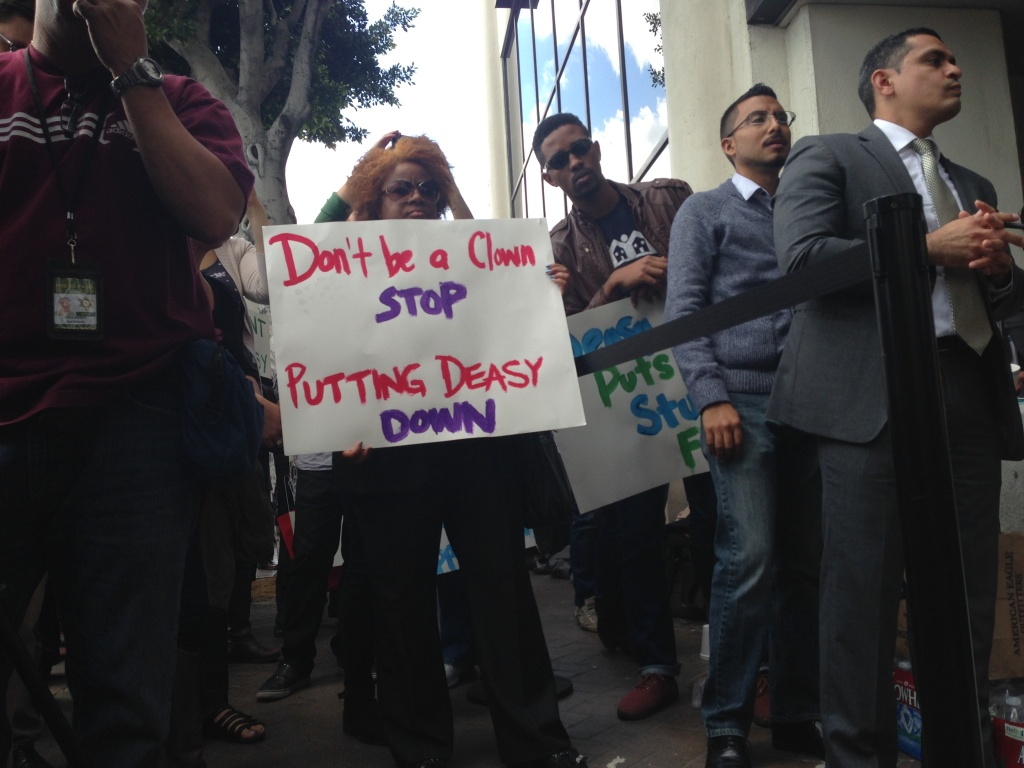 About 100 people gathered Tuesday morning to support L.A. Unified Superintendent John Deasy before the Board of Education delivered his annual review.