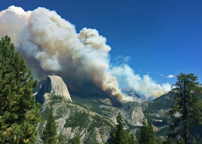 A view from Glacier Point on Monday morning, September 8, 2014, as the Meadow Fire continued to burn in Yosemite National Park.