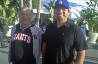 Giants fan Ramon Castro and his son Juan, who's a Dodgers fan, attended last night's game at Dodgers Stadium. Both said they're pulling for beating victim Bryan Stow.