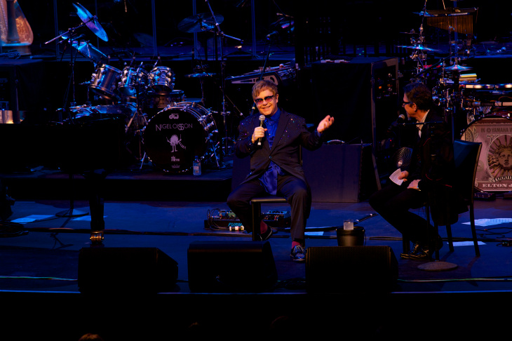 Sir Elton John performed classics and selections from his new album The Diving Board with USC Thornton School of Music students at Bovard Auditorium in Los Angeles Sept. 16.