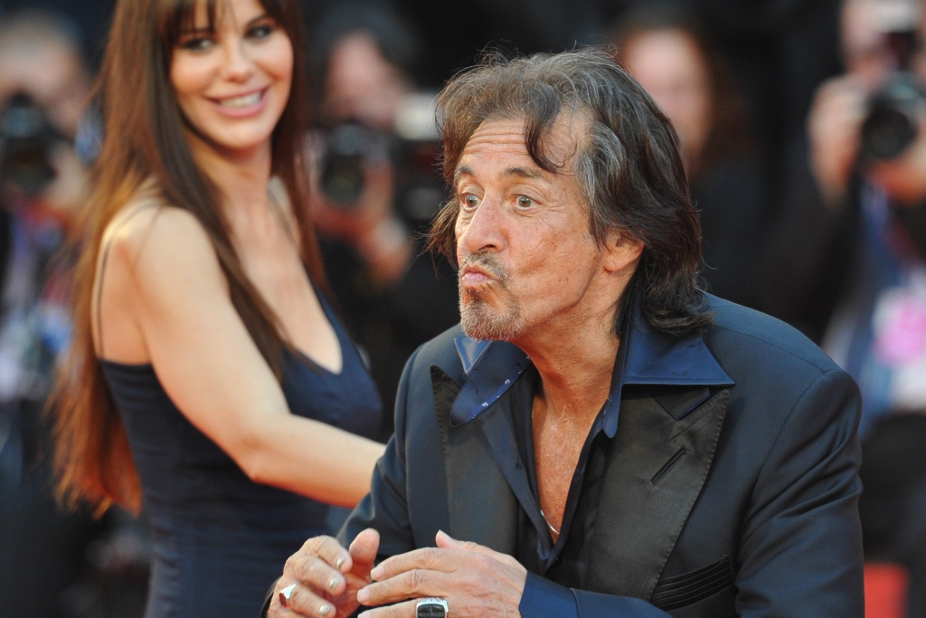 Al Pacino blows kisses as he arrives with girlfriend Lucila Sola for the Glory to the Filmaker Award ceremony during the 68th Venice International Film Festival on Sept. 4, 2011 at Venice Lido.