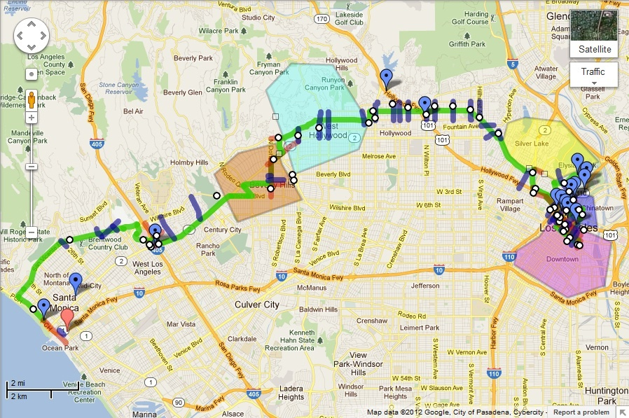 map of 2012 los angeles marathon street closures race route 893 kpcc