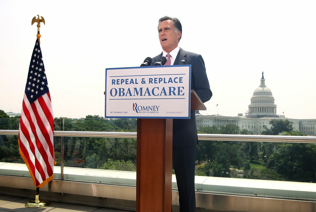 Republican U.S. Presidential candidate and former Massachusetts Governor Mitt Romney speaks in response to the U.S. Supreme Court ruling on the Affordable Healthcare Act with the U.S. Capitol in the background, June 28, 2012 in Washington, DC. The Supreme Court ruled that the entire law was constitutional and did not strike down any part.
