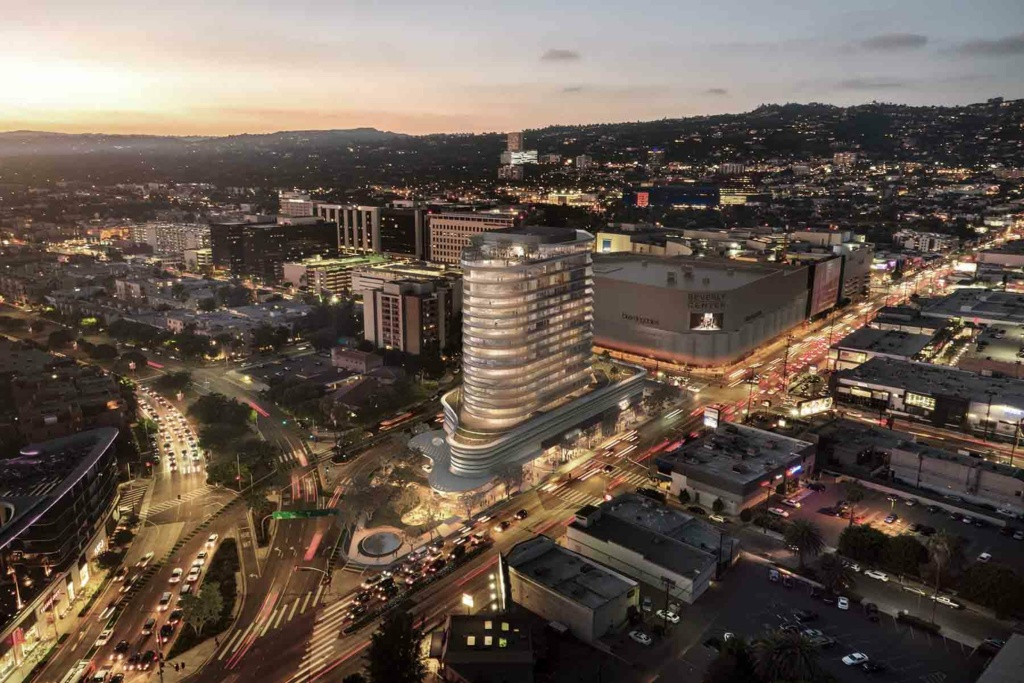 An artist's conception shows a newly approved mixed-use project near the Beverly Center in Los Angeles that will include some affordable housing units and a ground-level market.