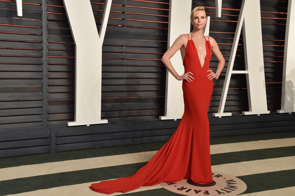 Actress Charlize Theron attends the 2016 Vanity Fair Oscar Party at the Wallis Annenberg Center for the Performing Arts on February 28, 2016 in Beverly Hills, California.