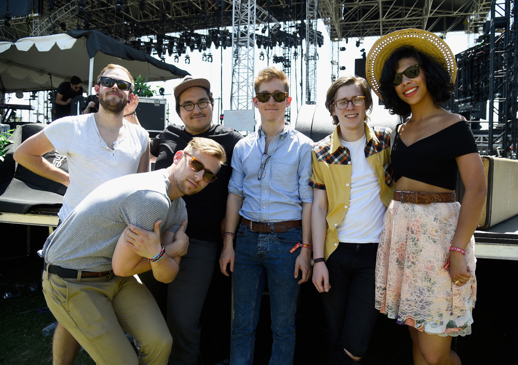 (L-R) Musicians Matthew Holmen, Zach Johnston, Matteo Roberts, Davey Roberts, Jason Krunnfusz and Monica Martin of the band PHOX pose backstage during day 2 of the 2015 Coachella Valley Music & Arts Festival (Weekend 1) at the Empire Polo Club on April 11, 2015 in Indio, California.