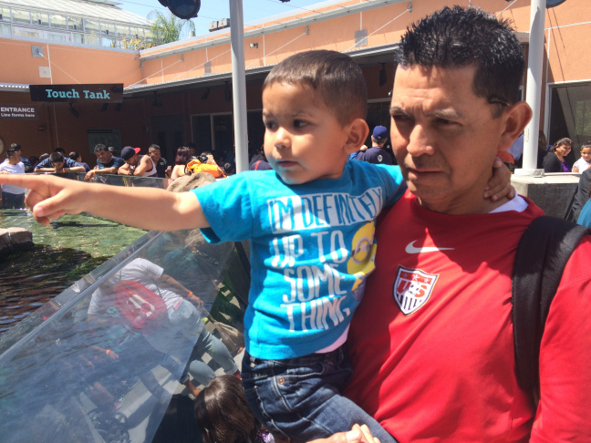 Janitor William Chavez and his 3 year-old son, Johan, check out the Kelp Ecosystem exhibit at the California Science Center on Sunday, May 3, 2015. It's a janitor-family field trip, part of a UCLA Labor Center project to help janitor parents navigate and learn about the early education system.