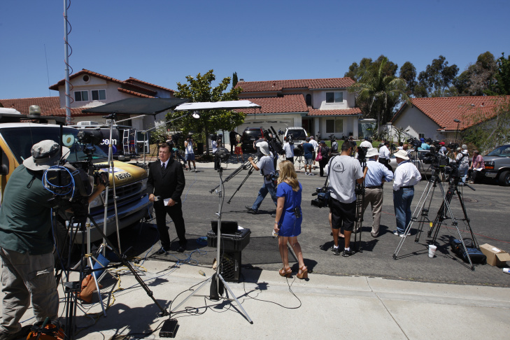 Media Gather Outside The Home Of Aurora Shooting Suspect's Parents Home