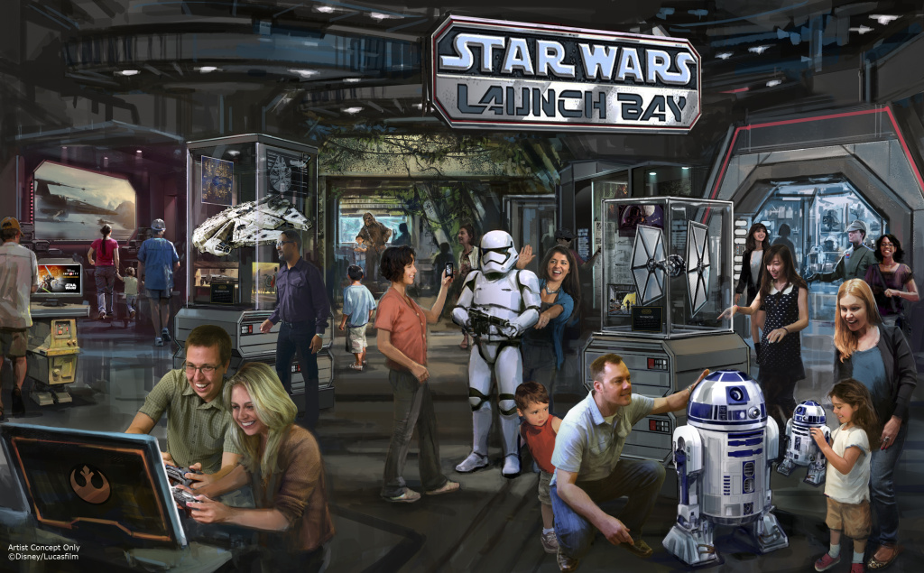 Star Wars Launch Bay concept art, coming soon to Disneyland and Disney World.